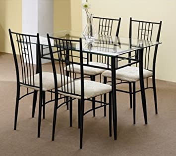 Pack Table En Verre Et Fer Forge Noir Avec 4 Chaises Pour