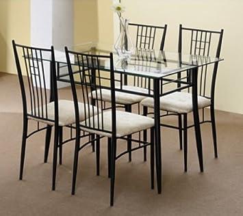 Pack Table En Verre Et Fer Forge Noir Avec 4 Chaises En Fer Forge