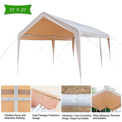 VINGLI 10′ x 20′ Heavy Duty Domain Carport, Outdoor Car Park Sun Shelter With Edge, 250G Polyester Fabric Cover UV Protection Waterproof,Versatile Garage Vehicle Shelter,Wedding Party Event Tent,Khaki For Sale