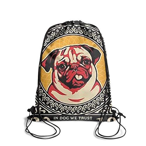 Drawstring Backpack Bag happy pug fest pop poster Backpack Travel Gym Bags
