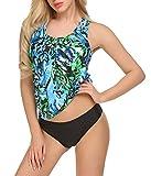 SimpleFun Women Strappy 2 Piece Padding Fashion New Tankini Bikini Swimsuits (Color 3, L)