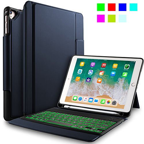 IVSO Keyboard Case for Apple New iPad 9.7 Ultra-Thin Keyboard case with 7 Colors Led Backlit and Pencil Slot Fitting New iPad 9.7 2018/2017/iPad Pro 9.7/iPad Air 2/iPad Air Tablet (Best Ivso Ipad Air Keyboard Cases)