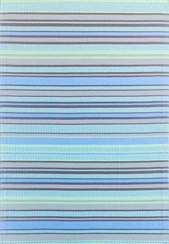 Mad Mats Stripes Indoor/Outdoor Floor Mat, 4 By 6 Feet, Grey Aqua
