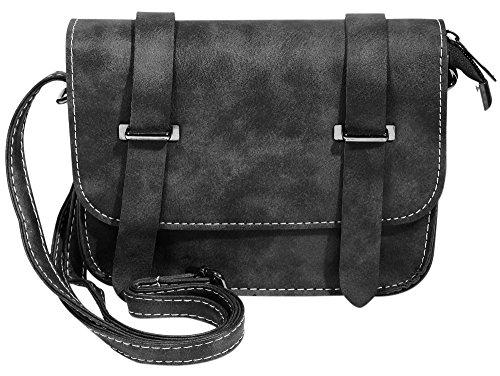 Akzent Damen Handtasche bzw. Schultertasche verstellbar in schwarz mit Reißverschluss 19x15x10 cm - 3600050