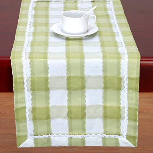 Checkered Gingham Table Runner For Parties, Buffalo Plaid Table Runner Or Dresser Scarf Rectangular 14 By 48 Inch, Green & White (Dresser Top Runner)