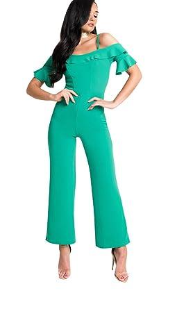 1f1c88a8d0c9 Amazon.com  IKRUSH Womens Aretha Bardot Frill Jumpsuit Green  Clothing