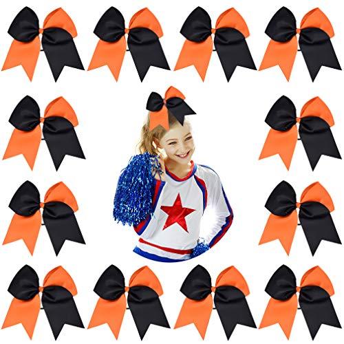 "DEEKA 12PCS 8"" Two Toned Large Cheer Hair Bows Ponytail Holder Handmade for Teen Girls Softball Cheerleader Sports-Orange/Black"