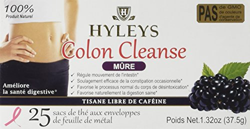 HYLEYS TEA Wellness Tea, Colon Cleanse and Blackberry, 25 Count, 1.32 Ounce