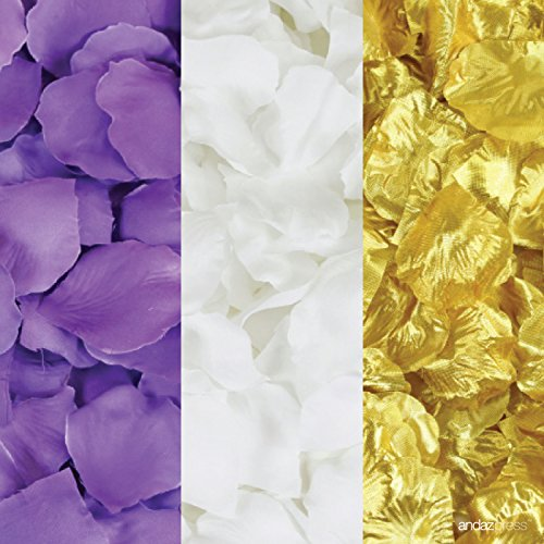(Andaz Press Silk Fabric Rose Petals Table Decorations, Royal Purple, White, Gold, 600-Pack, Colored Wedding Baby Bridal Shower Party Supplies)