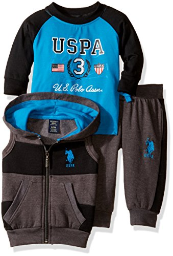 U.S. Polo Assn. Boys' Hooded Vest, Pant, and Raglan T-Shirt, Turquoise, 12M ()