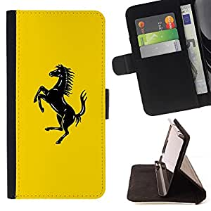 BETTY - FOR Apple Iphone 4 / 4S - Prancing Horse Car - Style PU Leather Case Wallet Flip Stand Flap Closure Cover