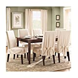 Sure Fit Duck Solid - Shorty Dining Room Chair Slipcover - Natural (SF21079)