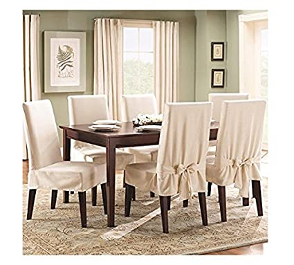 Tremendous Surefit Duck Solid Shorty Dining Room Chair Slipcover Natural Sf21079 Uwap Interior Chair Design Uwaporg