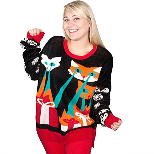 Laser Cat-Zillas Ugly Christmas Sweater-FunQi, Black (Large)
