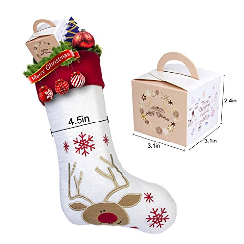 17'' Large Christmas Stockings Set of 3 with Santa, Reindeer, Snowman, Gospire Classic Linen Christmas Socks for Decorations Gift/Treat Bags by Gospire (Image #7)