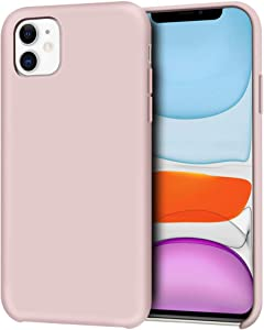 """Anuck iPhone 11 Case, Anti-Slip Liquid Silicone Gel Rubber Bumper Case with Soft Microfiber Lining Cushion Slim Hard Shell Shockproof Protective Case Cover for Apple iPhone 11 6.1"""" 2019 - Pink Sand"""