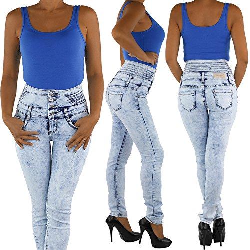 Sotala Damen Jeans Stretchjeans Röhrenjeans Hochschnitt Corsagenjeans Hose Blau pZPFyjL1K