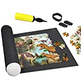 """Puzzle Roll Up Mat - Store and Transport Jigsaw Puzzles Saver,No Folded Creases - 46"""" x 26"""" Felt Mat, Inflatable Tube, and 3 Elastic Fasteners,1 Pump"""