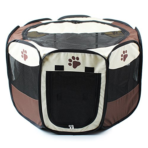 ANSON Brown 35 inch Animal Playpen for Pet Exercise Pen Kennel 600d Oxford Cloth,Outdoor Yard