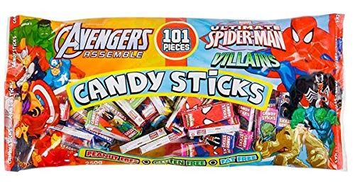 World Confection Marvel Character 2 Pack Candy Sticks, 101 Pieces