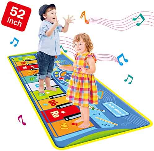 TNELTUEB 52'' X 19''(Large) Musical Piano Mat, Piano Keyboard Play Mat - Anti-Slip, with 8 Selectable Musical Instruments Musical, Piano Musical Mat Early Education Toys for Kids Toddler Girls Boys