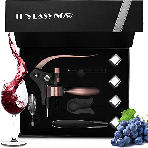 Rabbit Wine Bottle Opener Corkscrew Kit - Best Wine Accessories, All in One Manual Cork Screw Key Opener Set With Foil Cutter and Wine Aerator for Waiters, Bartenders, Chefs, Travel. Rose Gold by More Easy Now