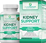 Premium Kidney Support Supplement by PurePremium (Kidney Cleanse Supplement) Potent Herbal Ingredients for Urinary Tract and Bladder Health - Cranberry Extract, Astragalus and Uva Ursi Leaf - 60 Caps