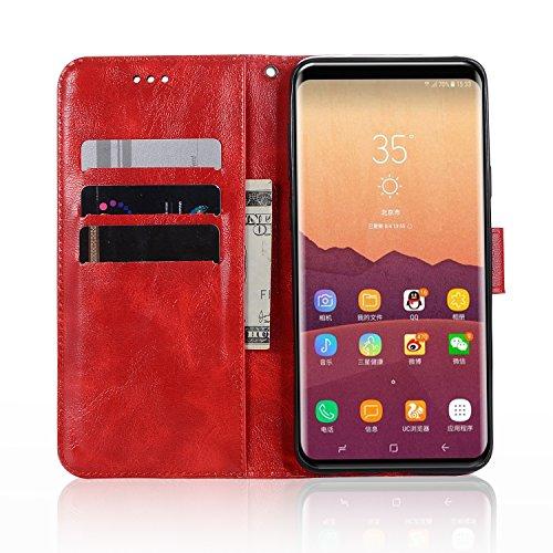 Funda Galaxy S9 Plus, SsHhUuJ Funda PU Piel Genuino Carcasa en Folio [Ranuras para Tarjetas] [Cierre Magnetico] con Acollador para Samsung Galaxy S9 Plus / S9+ (6.2) - Rojo Rojo