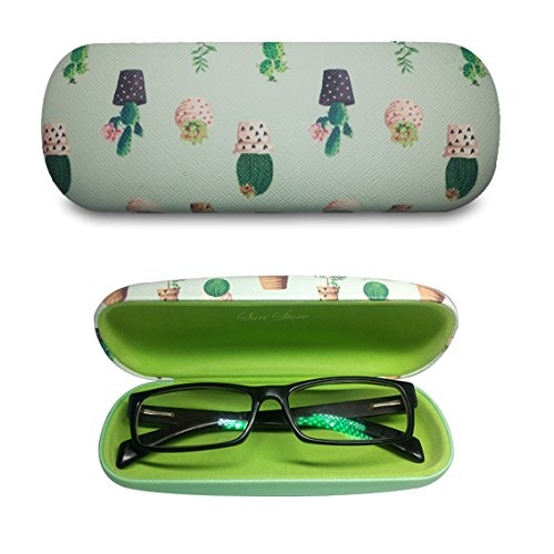 Eyeglasses Clamshell Hard Case Cactus Printed Cute Protective Holder Green (Glasses Cactus)