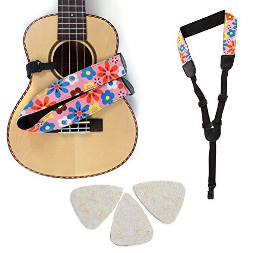 Button Free (Easeicon Adjustable Button-Free Ukulele Strap Belt Country Flower [Extra Comfortable Design] UKE Neck Sling + 3 Felt Picks - Ideal for Hawaiian Ukelele(Baritone Tenor Concert Soprano) (Pink))