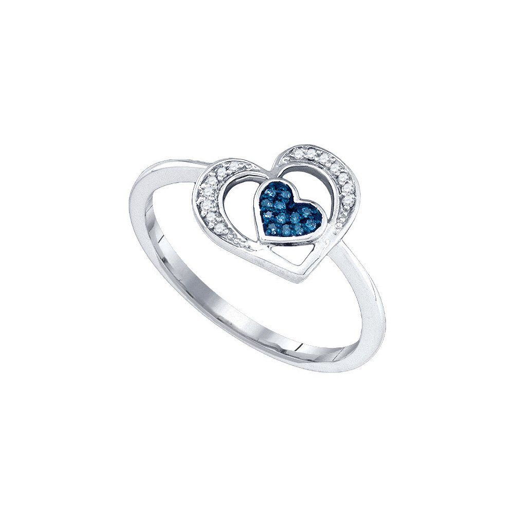 10kt White Gold Womens Round Blue Colored Diamond Heart Love Ring 1/20 Cttw (I2-I3 clarity; Blue color)