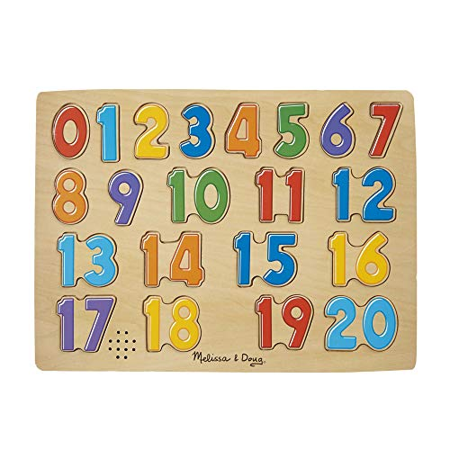 Melissa & Doug Numbers Sound Puzzle - Wooden  Puzzle With Sound Effects (21 pcs) (Puzzles With Sound)