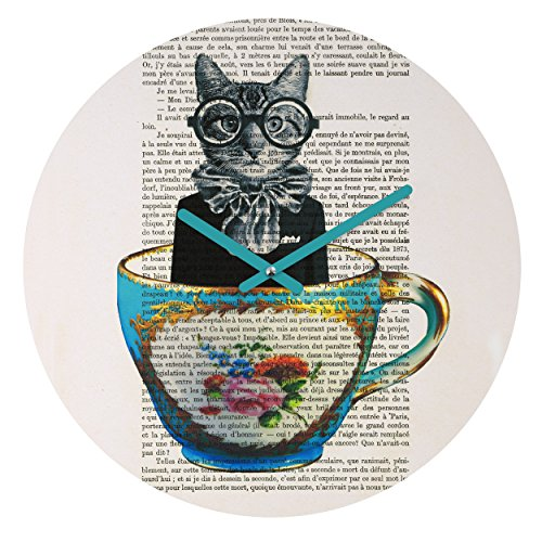 Deny Designs Coco De Paris, Cat In A Cup , Round Clock, Round, 12