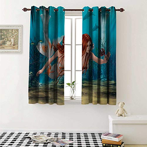 shenglv Mermaid Customized Curtains Lifelike Mermaid Holding a Sea Lily Magic Aquatic World Theme Curtains for Kitchen Windows W63 x L45 Inch Pale Blue Burnt Sienna Yellow