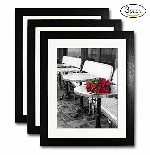 8x10 Black Picture Frame Set of 3 for Pictures 6x8 with Mat