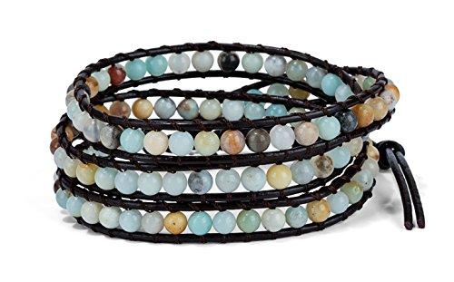 (SPUNKYsoul 3 Wrap Boho Bracelet 6mm Beads Natural Stone Amazonite for Women Collection)