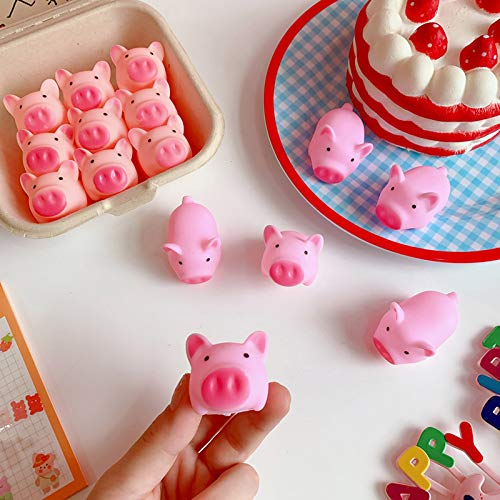 16 Pack Pig Cute Pink Toy to Vent Children Bath Pig Pinching Joys Stress Vent Toy, Animal Squeeze Toys Set, Slow Rising Fidget Toys Pack, Pressure Stress Relief Toys for Kids Anti Anxiety