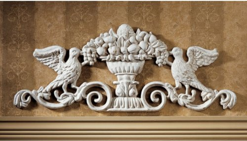 """9.5"""" Victorian Art Classic Cast Iron Birds Grapes Architectural Wall Door Ped..."""