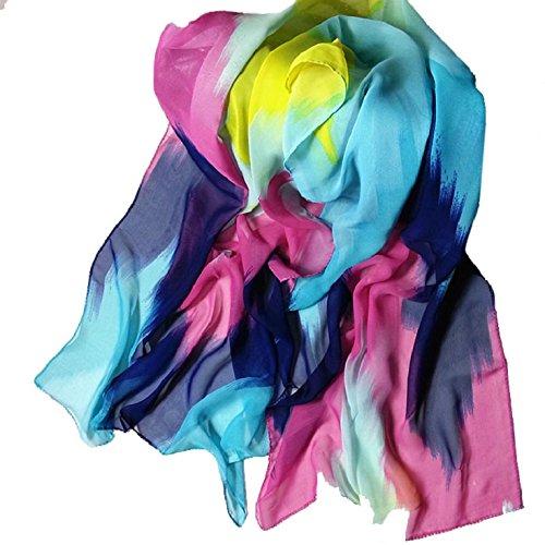Culater® Tinta Estilo Moda Mujer china Wrap Señora del mantón de la bufanda de la gasa (Púrpura) Azul