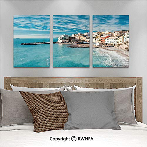 - 3Pc Creative Wall Stickers Panorama of Old Italian Fish Village Beach Old Province Coastal Charm Image Bedroom Kids Room Nursery Dinning Wall Decals Removable Art Murals,19.7