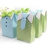 IGBBLOVE Blue Green Bow Tie Birthday Boy Baby Shower Favor box gift 50 pack
