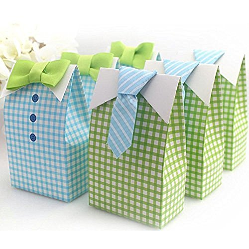 IGBBLOVE Blue Green Bow Tie Birthday Boy Baby Shower Favor box gift 50 pack by IGBBLOVE