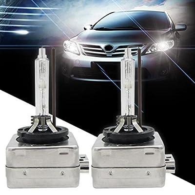 Ecosin Fashion 35W OEM HID 4300/5000K/6000K/8000K Xenon White Headlight Halogen Bulbs Lamps Replacemen