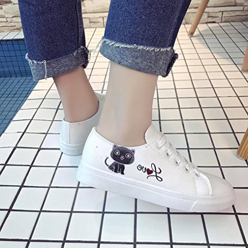 HLHN Women Canvas Shoes, Cat Cross Lace-up Low Top Flat Skate Shoes Sport Running Casual Fashion White
