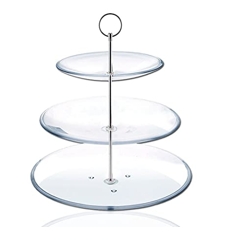 Cake Plate 8 Sets 3 Tier Stand Handle Fittings silver for Tea Shop Room Hotel  sc 1 st  Amazon.com & Amazon.com | Cake Plate 8 Sets 3 Tier Stand Handle Fittings silver ...