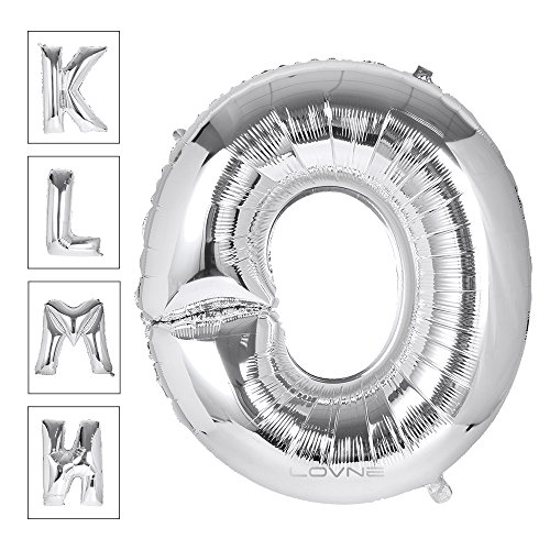 Lovne 40 Inch Silver Alphabet O Balloon Birthday Party Decorations Helium Foil Mylar Letter Balloons A to Z