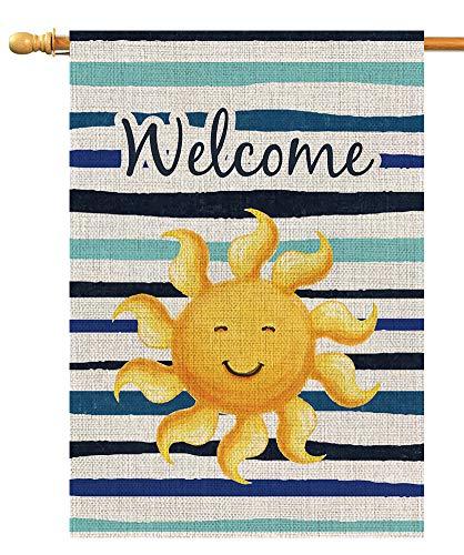 - BLKWHT Summer Sun Welcome Large House Flag Double Sided 28 x 40 Inch Beach Sunshine Outdoor Yard Decor