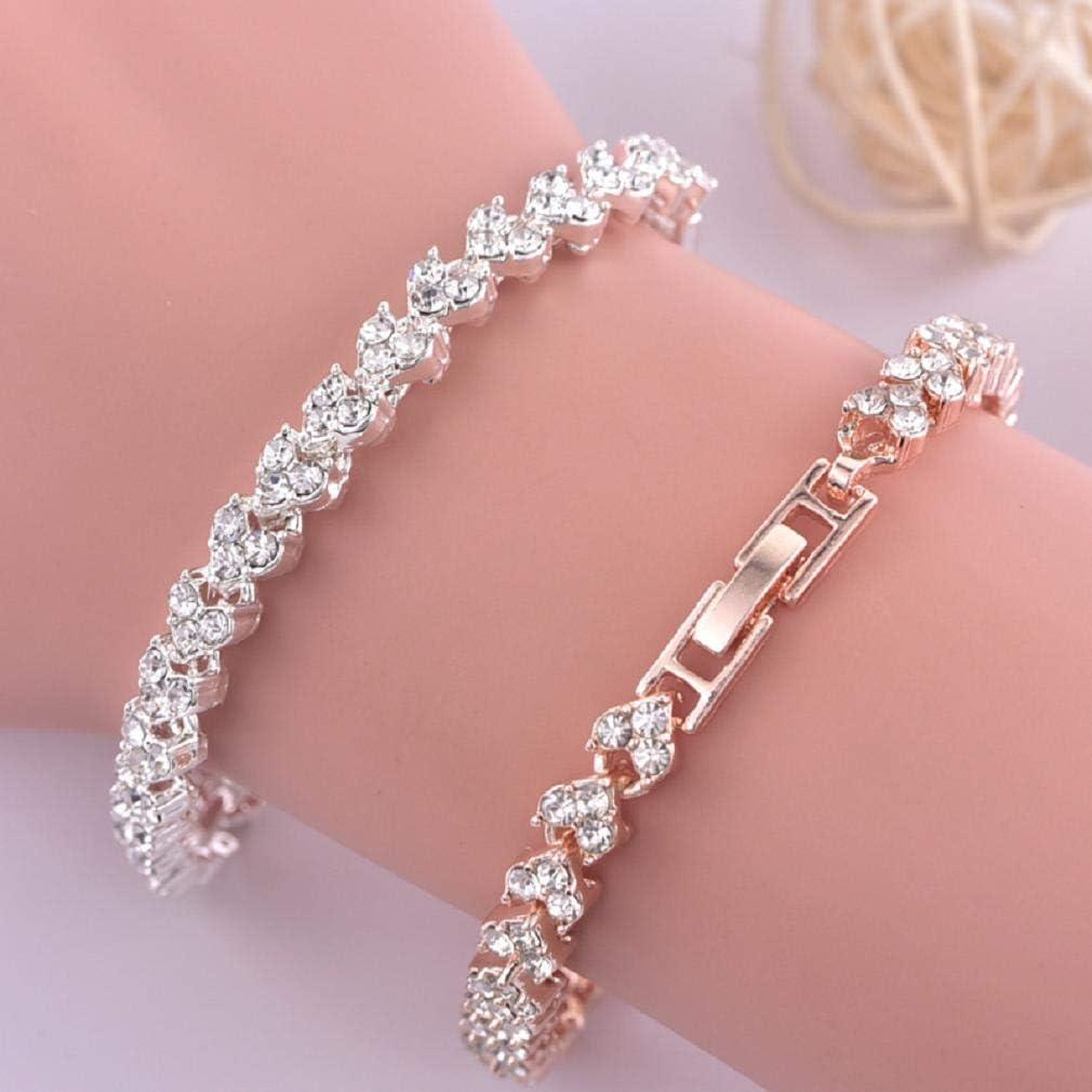 Keattl Bracelet Femme Bracelet Style Romain Femme Cristal Diamant Braderie Argent