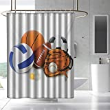 Fakgod Sports Shower Curtain with Hooks Many Different Sports Balls All Together Championship Ping Pong Volleyball Olympics for Master, Kid's, Guest Bathroom W108 x L72 Multicolor
