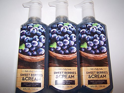 Lot of 3 Bath & Body Works Sweet Berries & Cream Deep Cleansing Hand Soap 8 oz